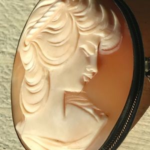 Cameo Brooch/Pendant Shell 1800s Stamp 800 Silver
